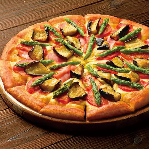 3種野菜とベーコンのピザ
