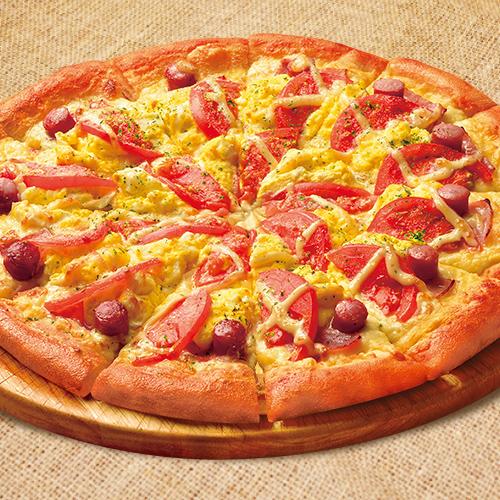 ふわふわタマゴとトマトのピザ